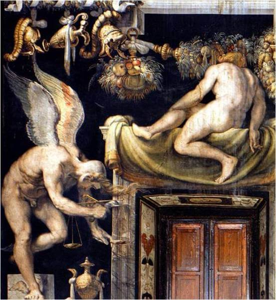 Een gevleugelde kairos met staart en weegschaal te midden van andere goden