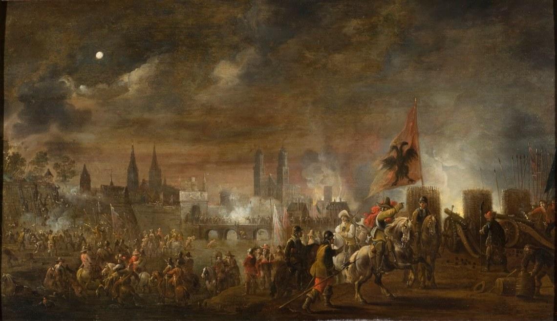 Schilderij met het katholieke leger dat zich opstelt rondom de stad Maagdenburg