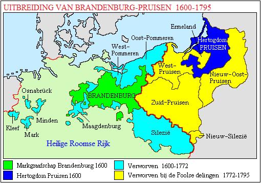 Kaart van het hertogdom Pruisen en zijn veroveringen in de jaren 1600-1795