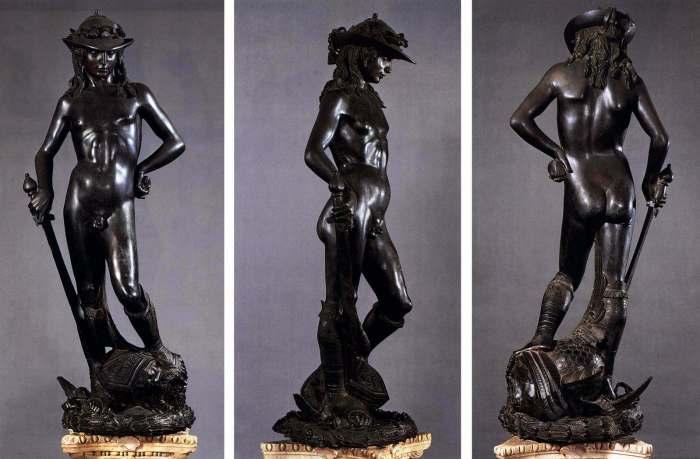 Voor-, zij- en achterkant van bronzen David van Donatello