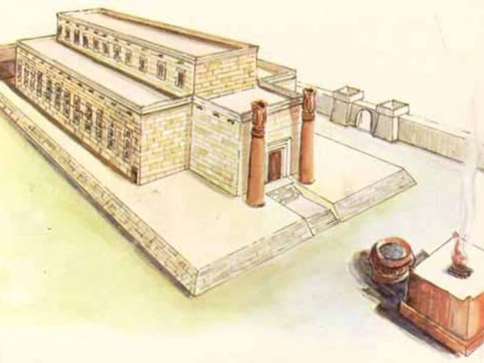 Rechthoekige tempel met voorhal, trapopgang en twee zuilen