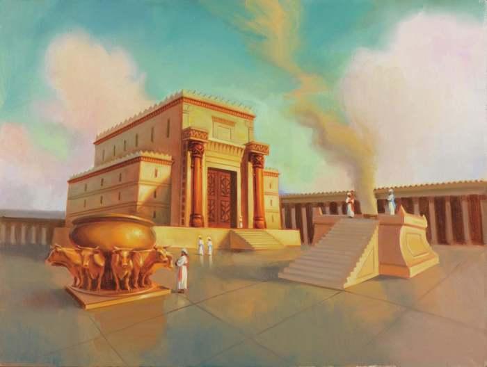 Rechthoekige tempel met voorhal, trapopgang en twee blinkende zuilen