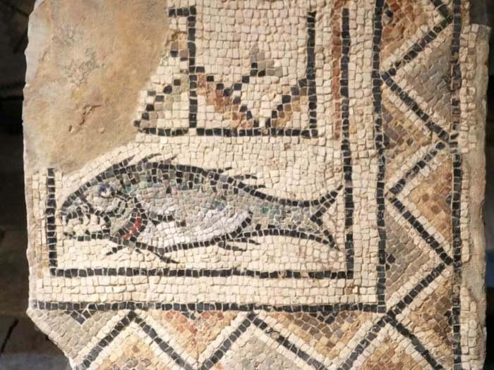 Mozaïek van vis en geometrische vormen