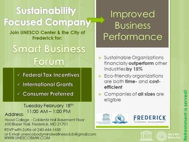 Join UNESCO Center & the city of Frederick for: Smart Business Forum