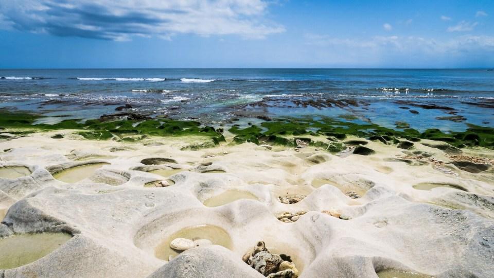 Plage de Balangan Beach à Bali, avec son sable blanc et ses algues vertes à marée basse
