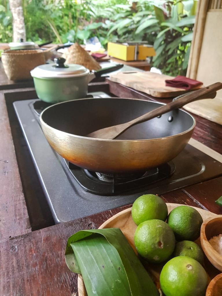Poste de travail au cours de cuisine de Pemulan Bali Farm