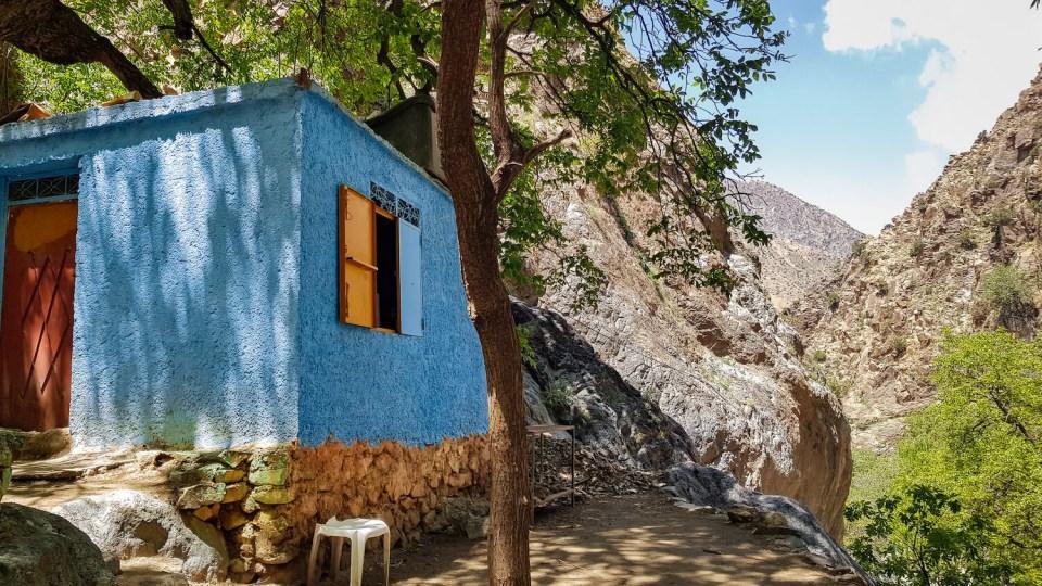 Maisonnette bleue sur le chemin des 7 cascades, Setti Fatma, Maroc