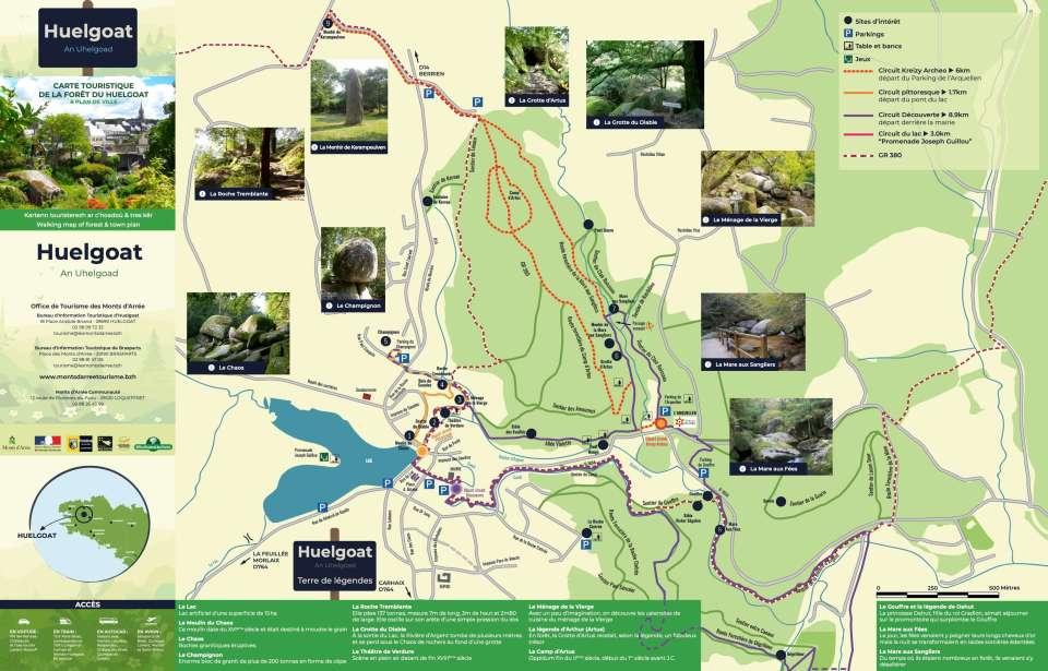 Carte touristique de la forêt d'Huelgoat, éditée par l'Office de Tourisme des Monts d'Arrée