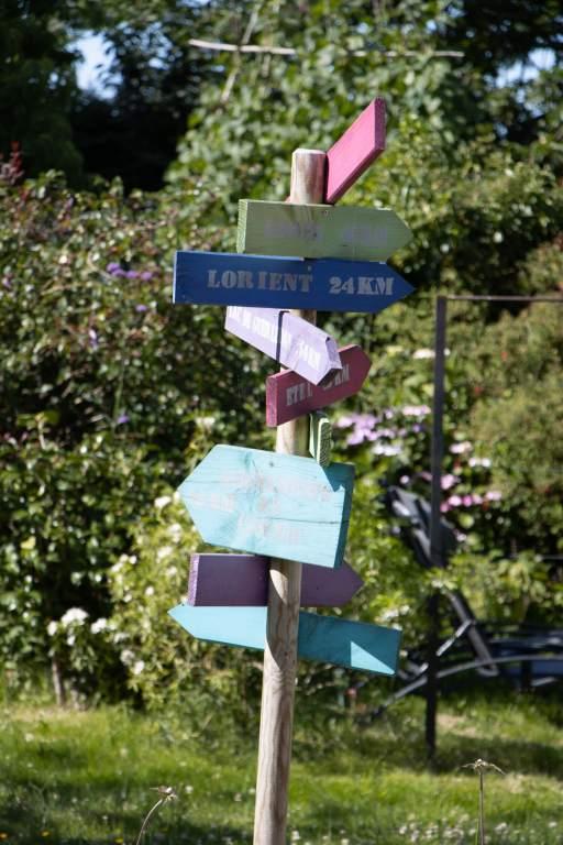 Panneaux colorés de signalisation indiquant des villes de Bretagne dans toutes les directions (utile si vous vous perdez en road-trip en Bretagne)