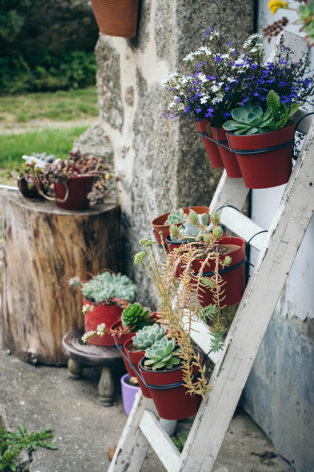 Pots de fleurs décoratifs dans le hameau de Kérampeulven