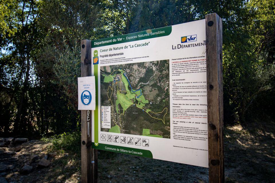 Panneau de signalisation cascade de Sillans espace naturel sensible
