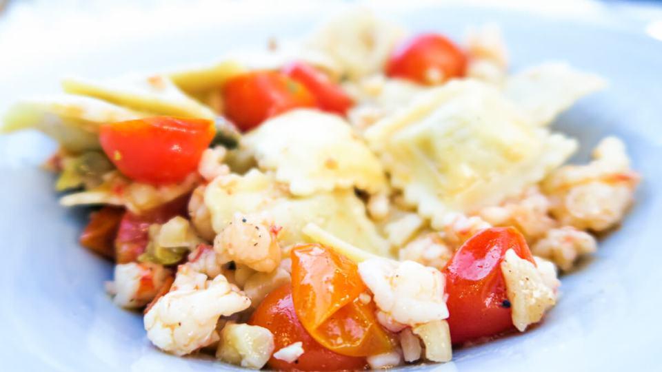 Plat de raviolis aux langoustines et tomates - Restaurant La Posada - Corniglia - Cinque Terre