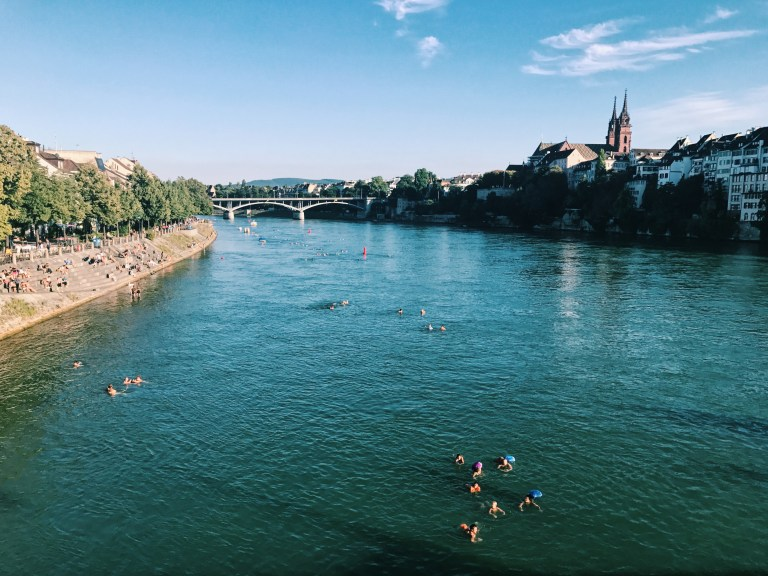 people floating down the rhine river in basel. Anya and Phil floated down the Rhine on the Eurovelo 15.