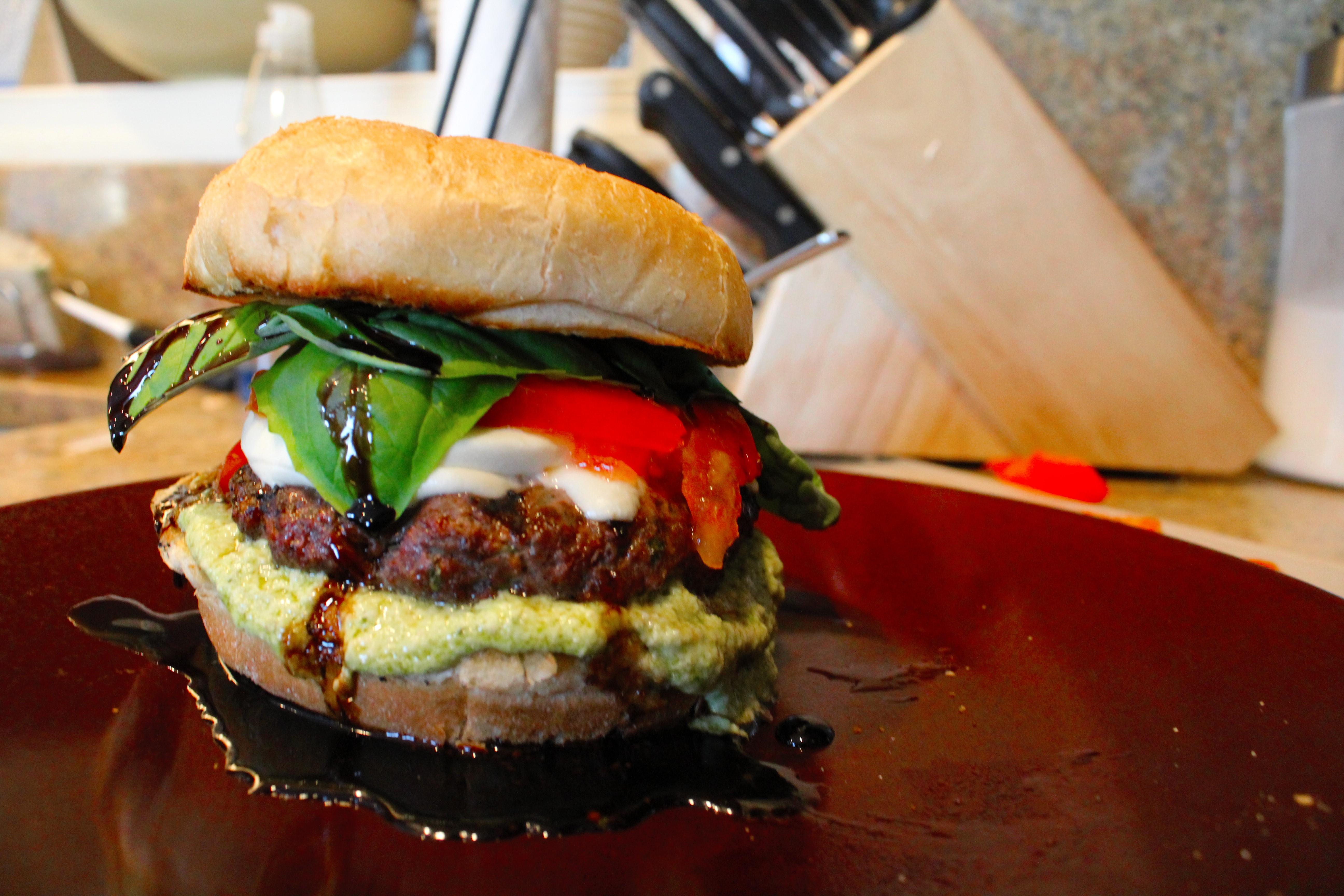 Caprese Burgers with Balsamic Glaze and Artichoke Pesto Spread