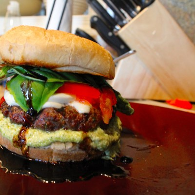 Caprese Burgers with Balsamic Glaze and Artichoke Pesto Spread