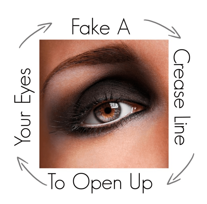 Fake a crease line to open up eyes