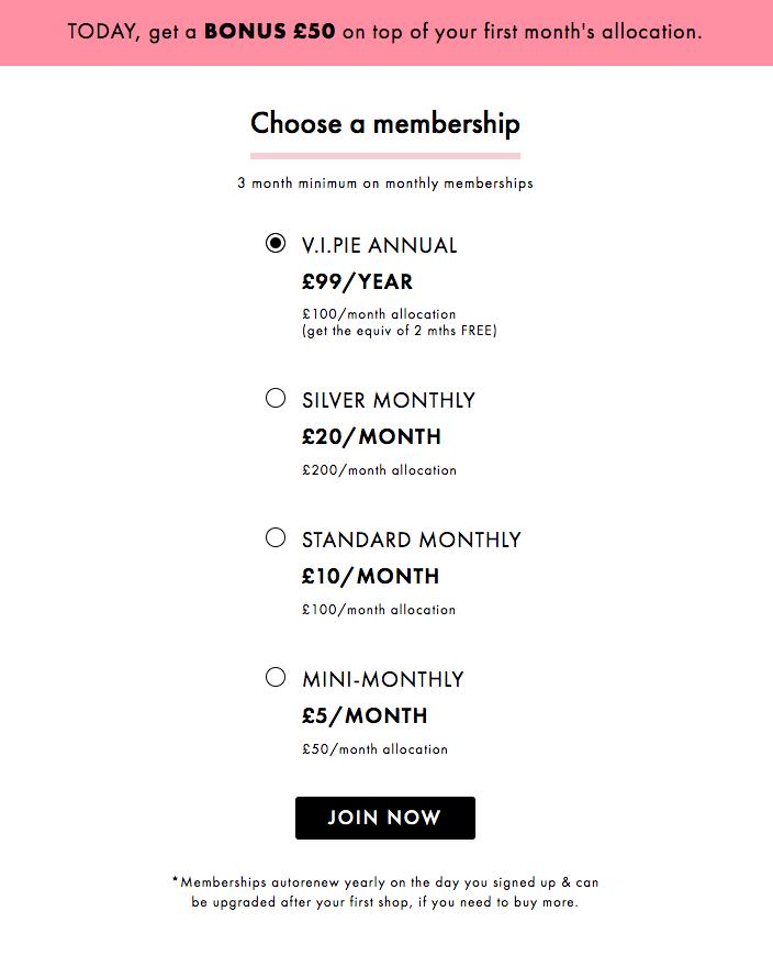 Beauty Pie membership