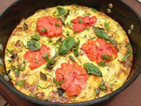 Frittata with Zapotec Tomato slices and fresh basil