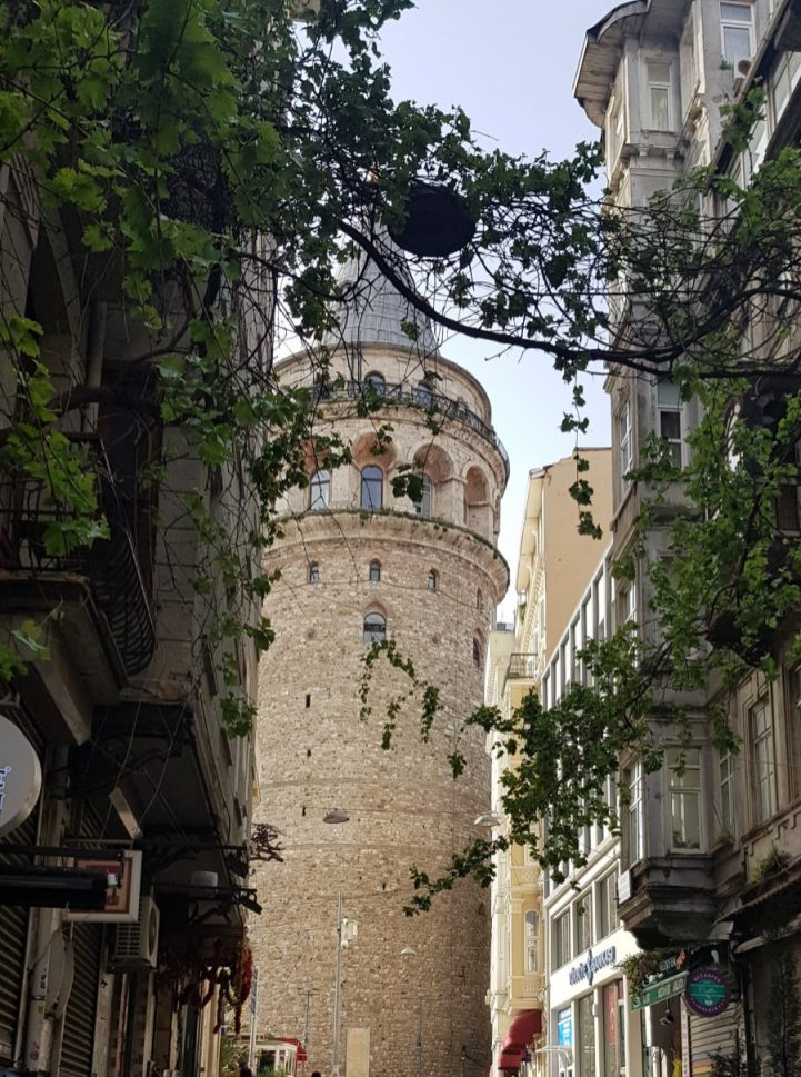 View of Galata Tower from a side street