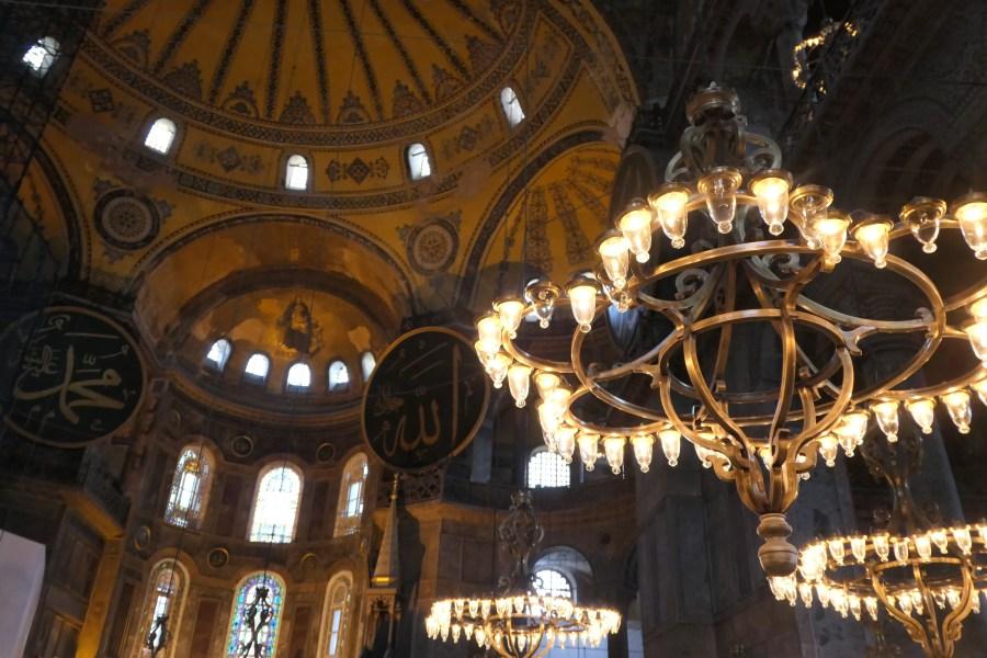 Chandeliers inside Hagia Sophia