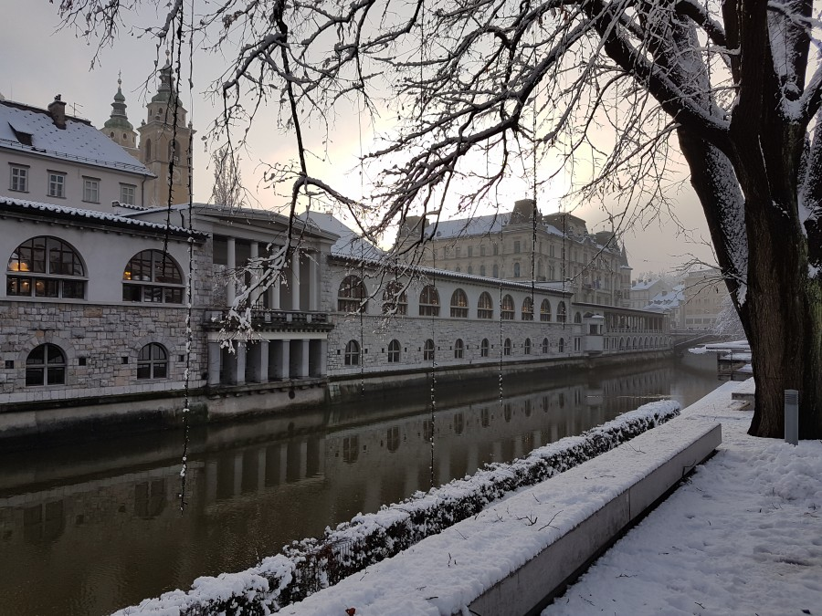 The capital covered in snow