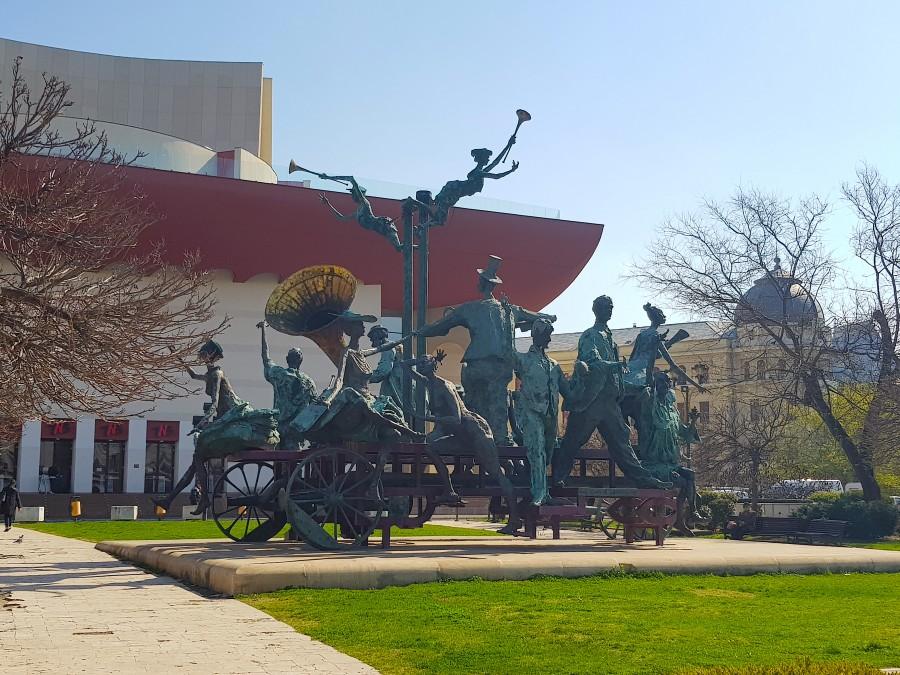 Caragealiana sculpture at Bucharest National Theatre