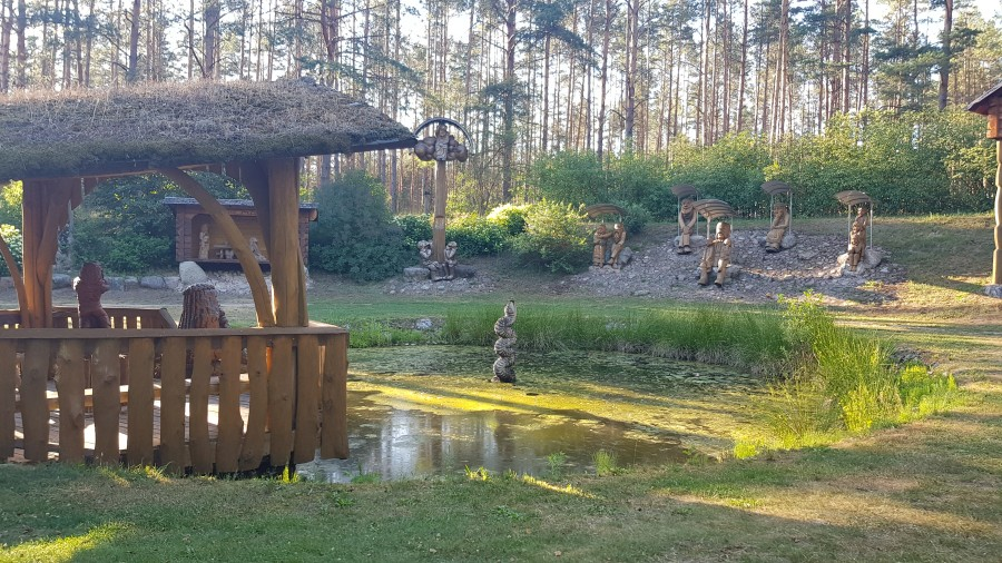 Pond surrounded by sculptures