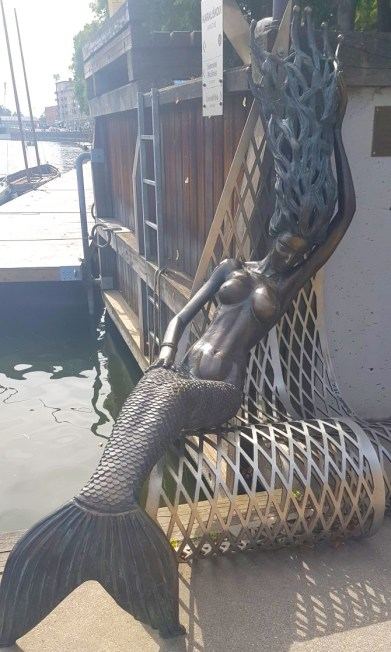 Unusual Mermaid statue in Klaipeda