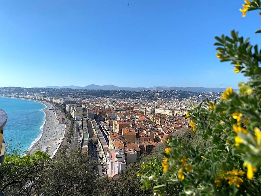 View of the Promenade des Anglais from Castle Hill in Nice