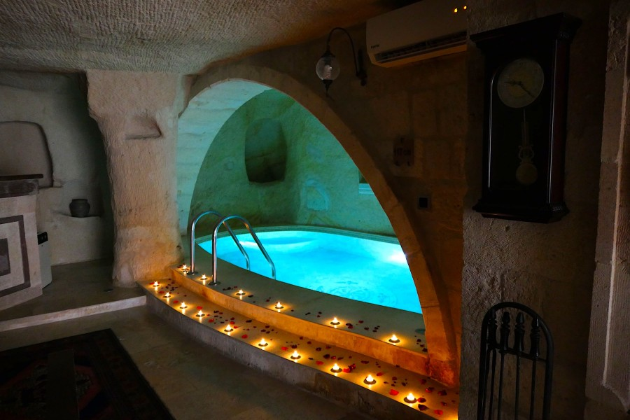 Indoor pool by candlelight