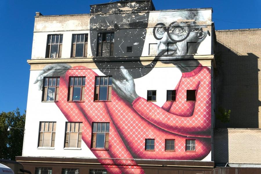 Wise old man graffiti in Kaunas, Lithuania