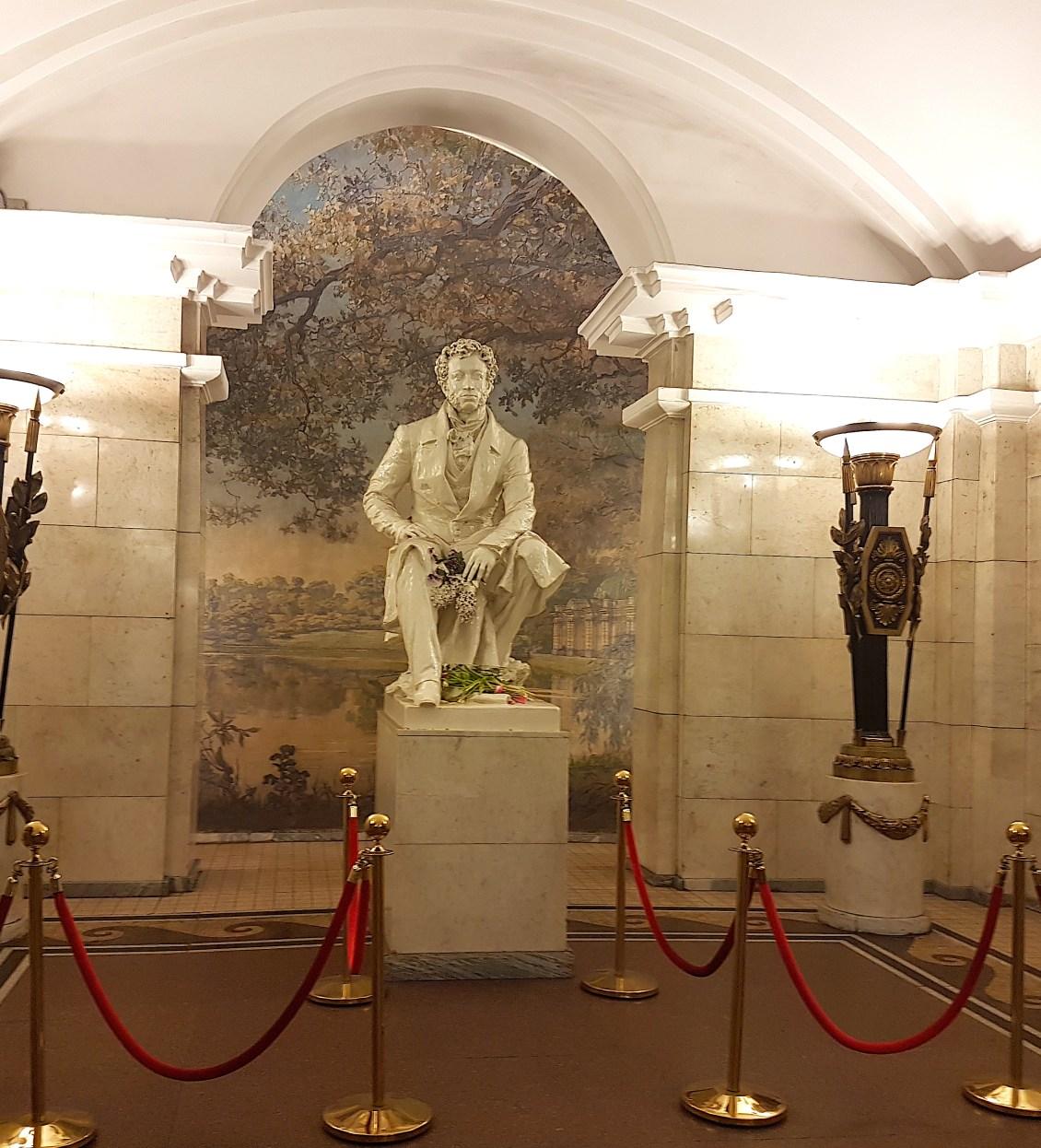 Alexander Pushkinskaya statue at Pushkinskaya station
