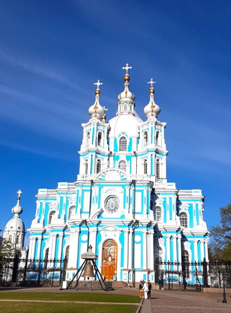 Beautiful blue Smolny Cathedral in St Petersburg