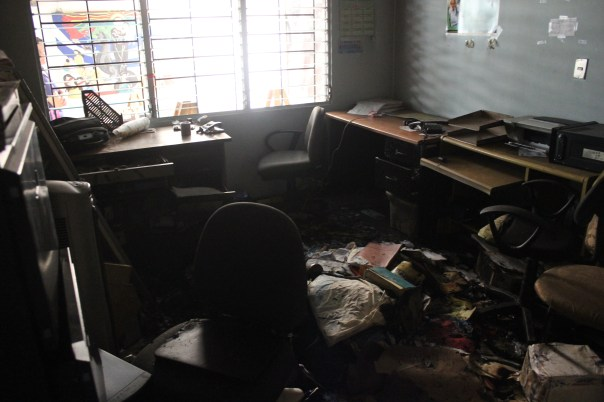 Fire damage at the office of Pro-Búsqueda following the Nov. 14 attack