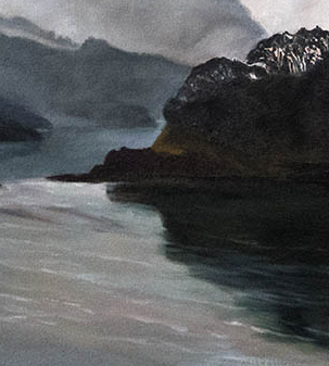 beginning a painting,NZ,seascape,Colville