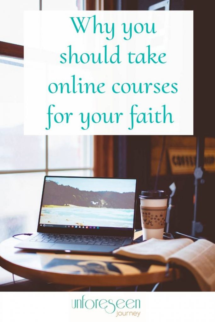 "Sitting in front of an open computer with coffee and bible looking out the window, overlay text reads ""Why you should take online courses for your faith"""