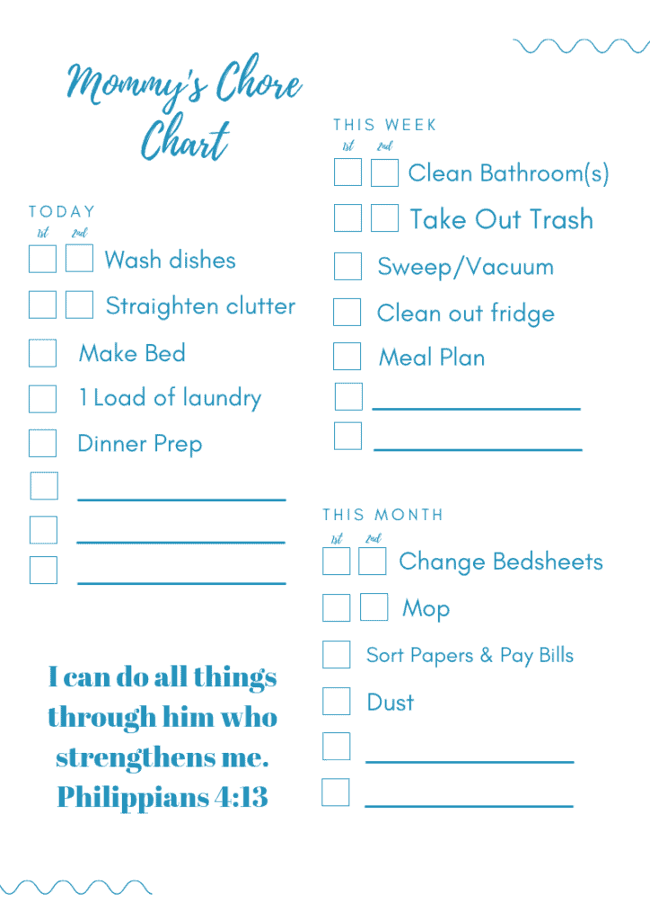 clean and tidy house secrets  chore chart for adults