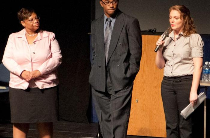 From left: UNF Women's Center Director Sheila Spivey, trial participants Raymond Jack and Lindy Whitfield.