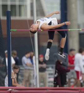 Harris placed 19th overall in men's high jump.  Photo by Morgan Purvis