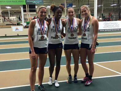 The ladies 4x400m relay team was made of (L to R) junior Tayler Johnson, junior Vanessa Philbert, senior Alyssa Younker and sophomore Hallie Grimes. Photo courtesy of Hallie Grimes.
