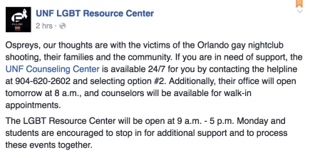 A Facebook post Sunday morning from the UNF LGBT Resource Center.