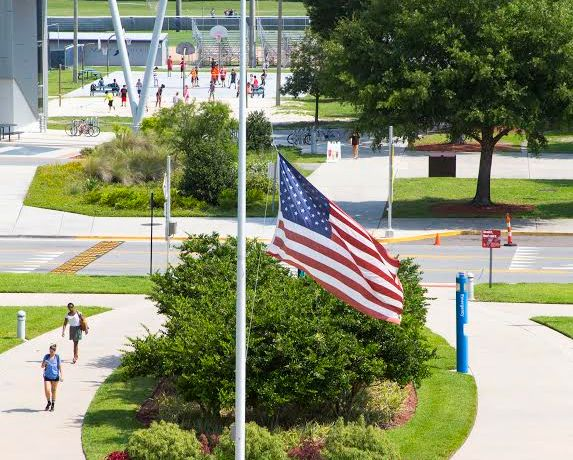 Flags across the country were lowered to half staff in mourning of the victims of 9/11.  Photo by Jenn Mello