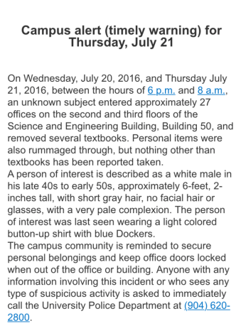 The UNFPD alert sent to students Thursday. Screencap courtesy of Mark Judson.