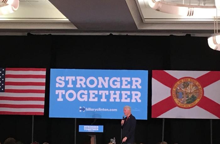 Bill Clinton spoke on behalf of Hillary Friday at the Jacksonville Public Library