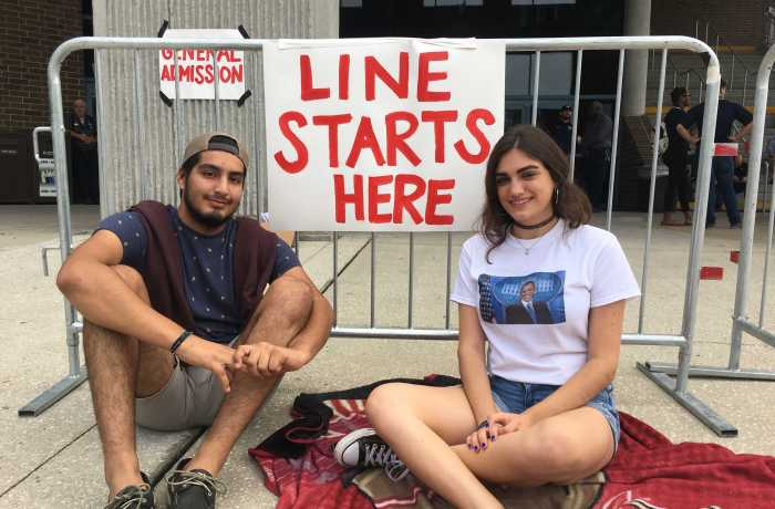 Sophomores Alexis Kmieck and Albaro Barrios got in line at 1 a.m. so they could be the first ones in. Photo by Tiffany Butler