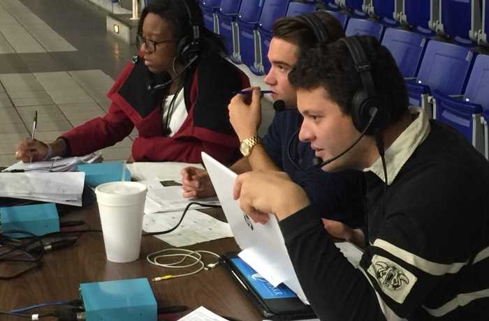 The Spinnaker team at the first Play by Play of a women's basketball game. From left is Joslyn Simmons, Will Weber and Al Huffman.