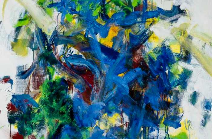 JOAN MITCHELL, Chord III, 1986. Oil on canvas, 77 x 44 inches. Museum of Contemporary Art Jacksonville, Gift of Donald and Maria Cox. © Estate of Joan Mitchell.