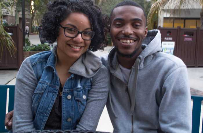 Marvin Williams, junior, sport management and Elizabeth Solon, junior, communication. Photo by Lili Weinstein