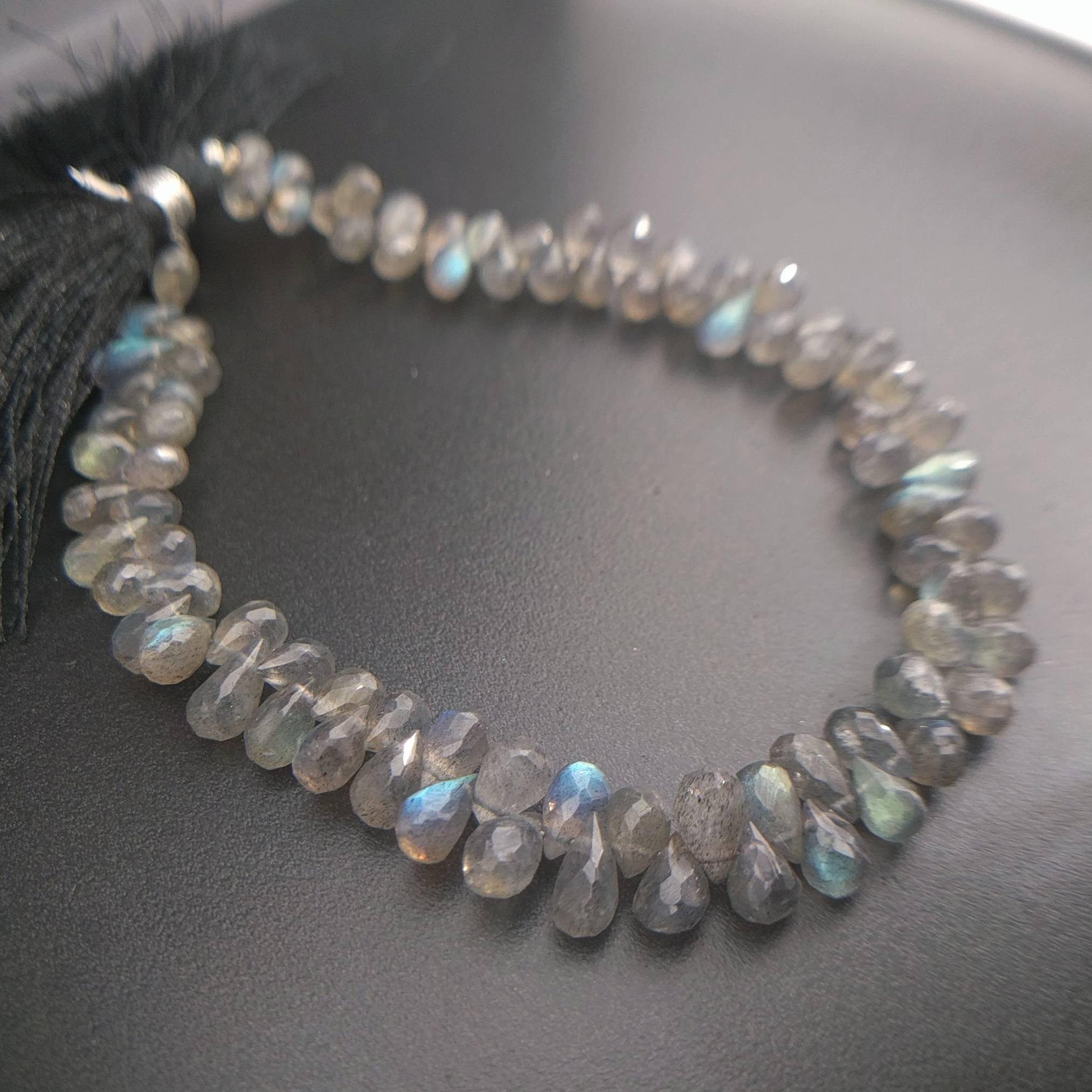 Petite Labradorite Gemstone Teardrop Briolette Pendant with Electroplated Silver Cap and Bail S17B1-10 bgt