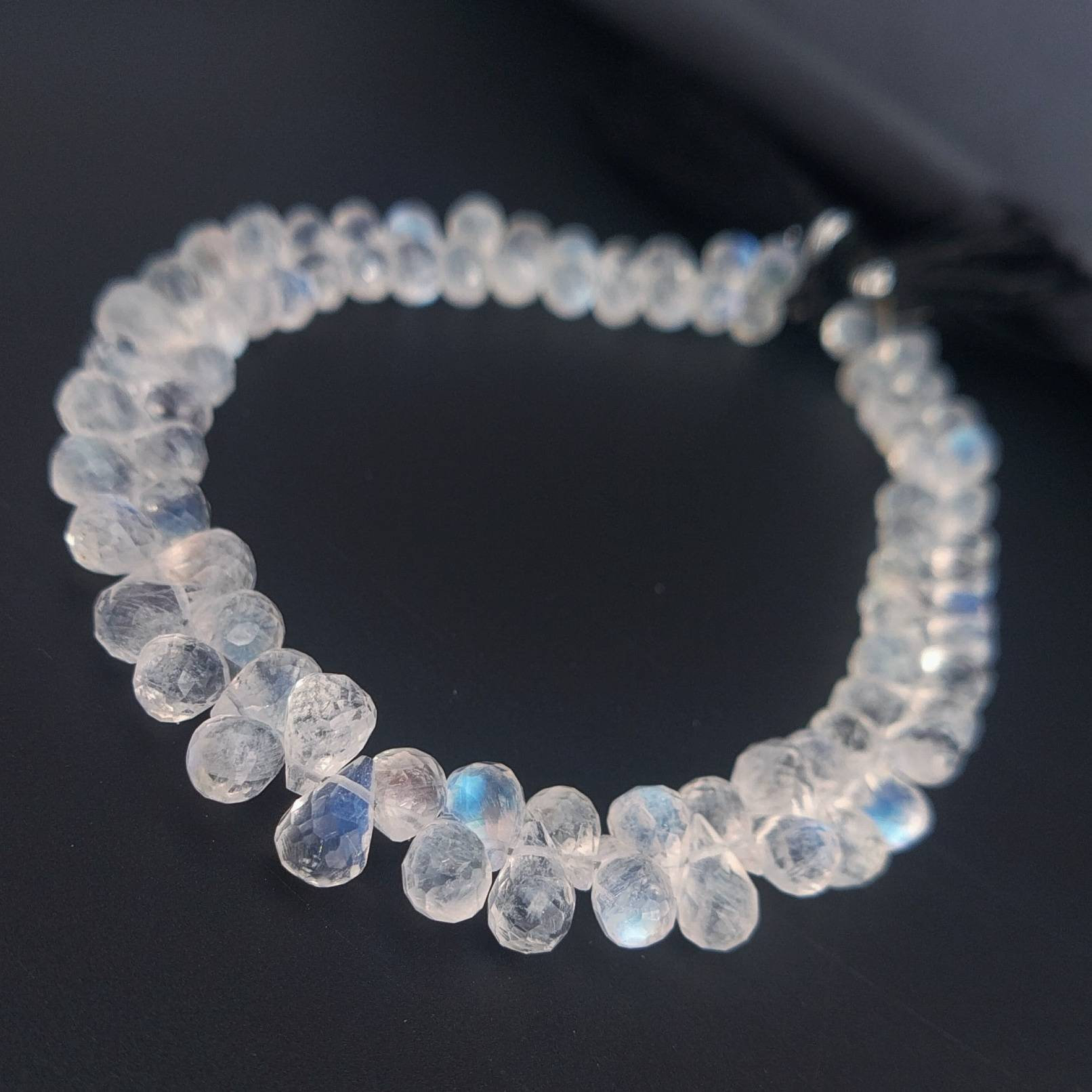8 Inches Strand,Blue Flashy Rainbow Moonstone Faceted Pear Shaped Briolettes,6-8mm
